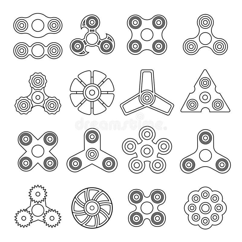 Diversos hilanderos blancos y negros libre illustration