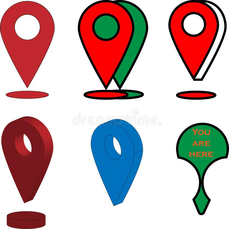 Diversos iconos de GPS y de las muestras colores verdes rojos adentro stock de ilustración