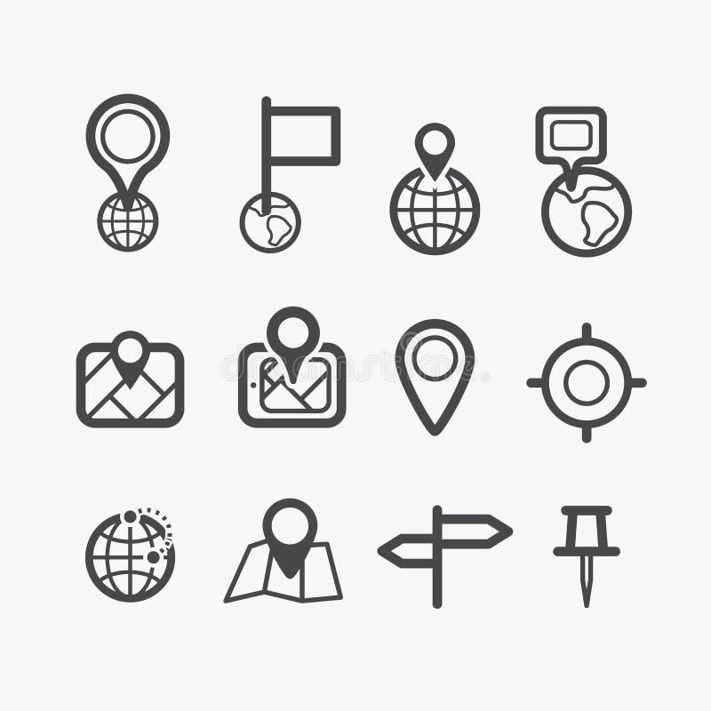 Diversos iconos de la navegación fijados stock de ilustración