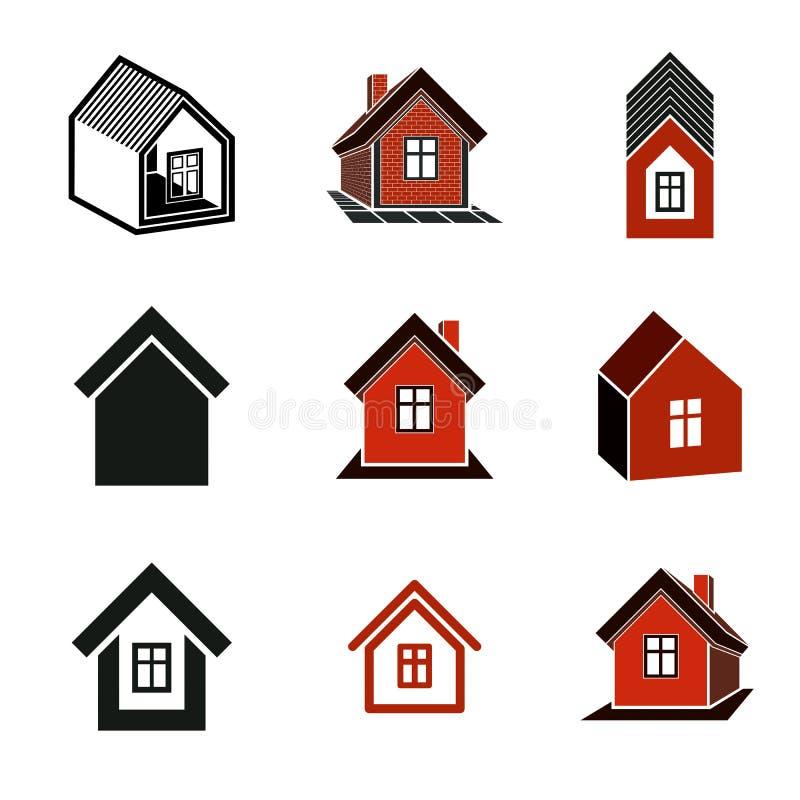 Diversos iconos de las casas para el uso en el diseño gráfico, sistema ilustración del vector