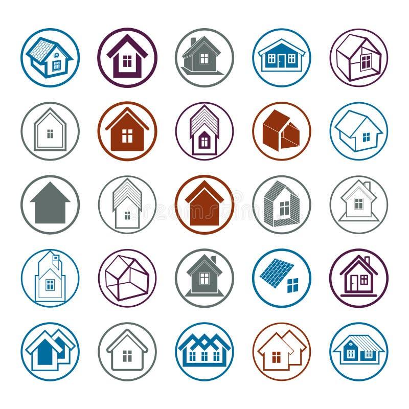 Diversos iconos de las casas para el uso en el diseño gráfico, sistema de la mansión ilustración del vector