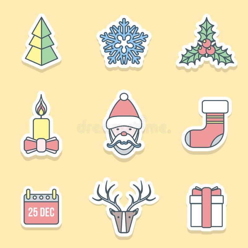 Diversos iconos de las etiquetas del esquema de la Navidad fijados libre illustration