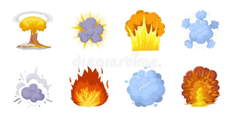 Diversos iconos de las explosiones en la colección del sistema para el diseño El flash y la llama vector el ejemplo común del web ilustración del vector