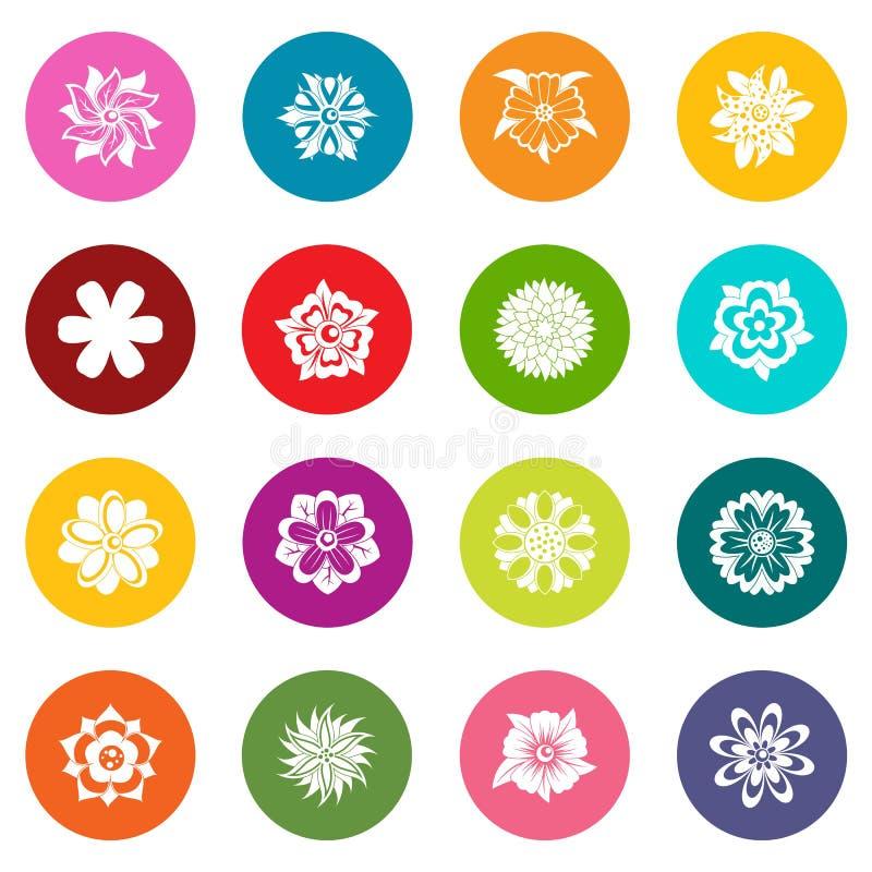 Diversos iconos de las flores sistema de muchos colores ilustración del vector