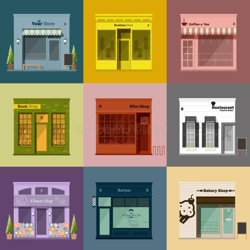 Diversos iconos de las tiendas y de las tiendas fijados stock de ilustración
