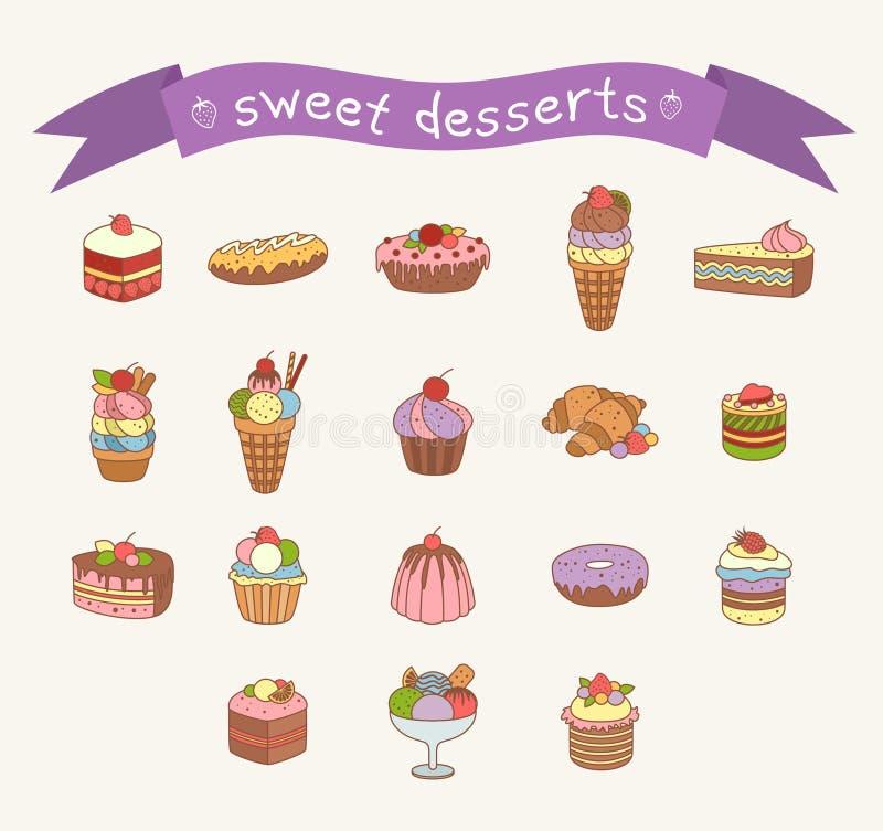 Diversos iconos de los dulces fijados libre illustration