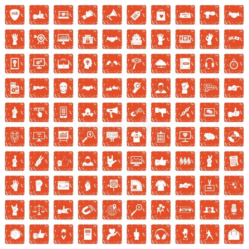 100 diversos iconos de los gestos fijaron grunge anaranjado libre illustration