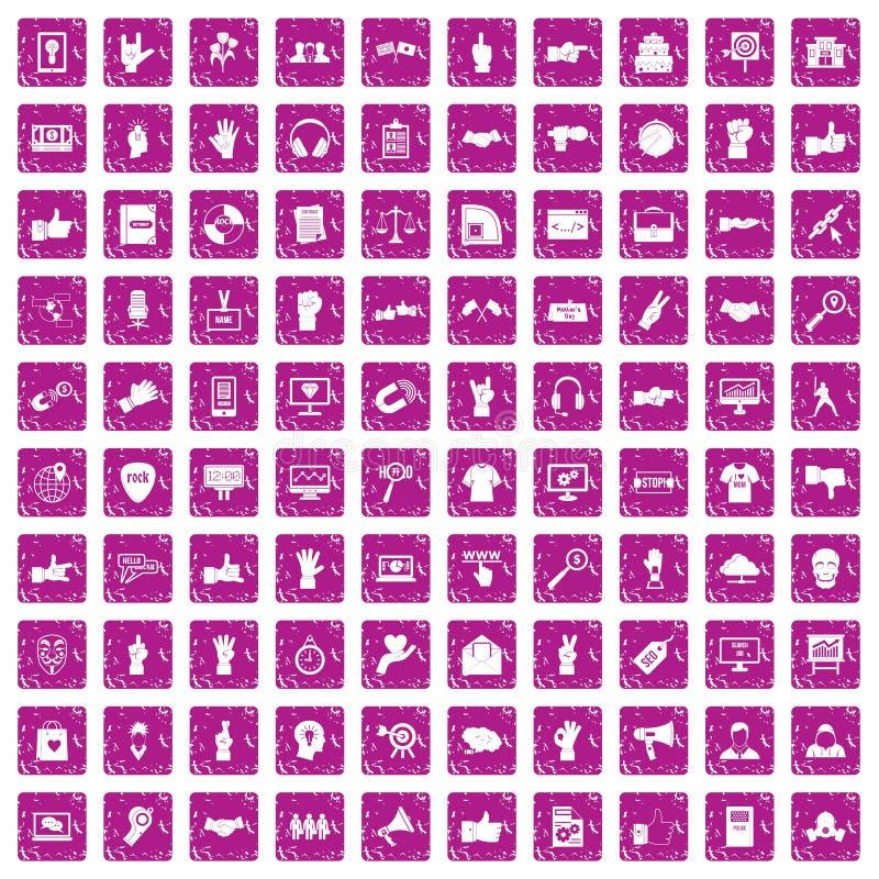 100 diversos iconos de los gestos fijaron rosa del grunge ilustración del vector
