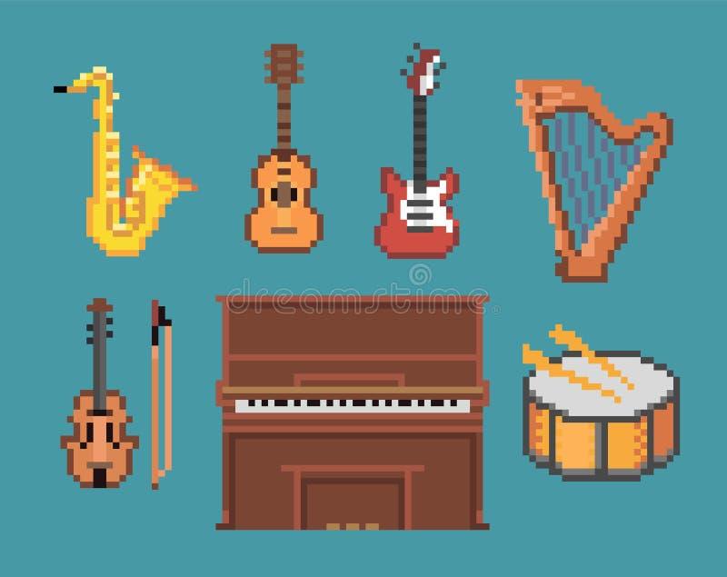 Diversos iconos de los instrumentos del pixel de la música stock de ilustración