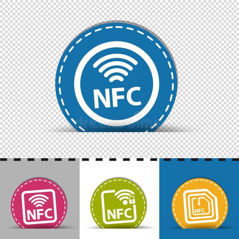 Diversos iconos de NFC - cuatro botones redondos coloridos - ejemplo del vector - aislado en fondo transparente y monocromático ilustración del vector