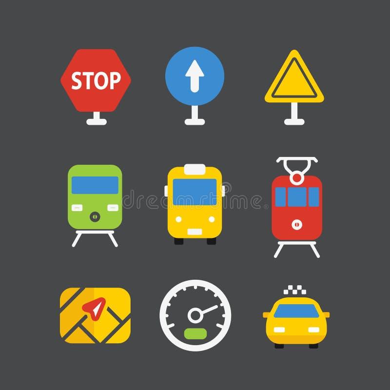 Diversos iconos del transporte fijados con las esquinas redondeadas Diseño plano stock de ilustración