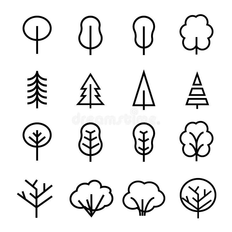 Diversos iconos del vector de los árboles stock de ilustración