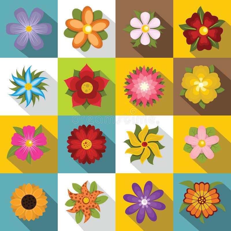 Diversos iconos fijados, estilo plano de las flores ilustración del vector