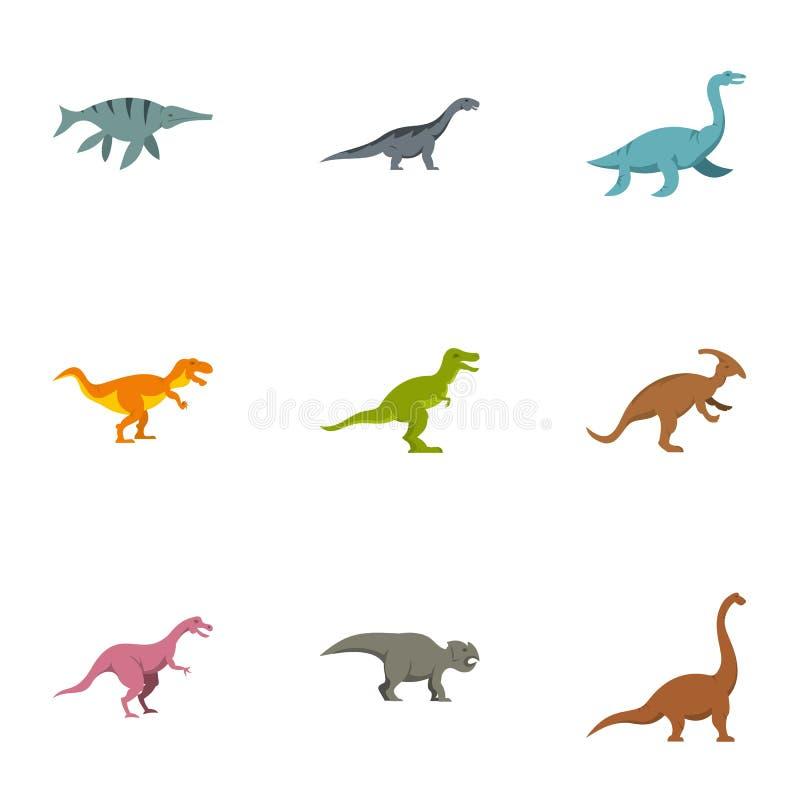Diversos iconos fijados, estilo plano del dinosaurio libre illustration