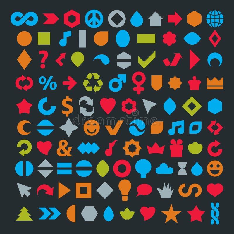 Diversos iconos planos coloridos del web fijaron hecho en la música, ambiente libre illustration