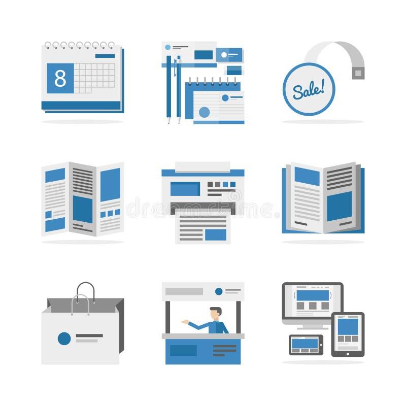 Diversos iconos planos de los materiales de publicidad fijados stock de ilustración