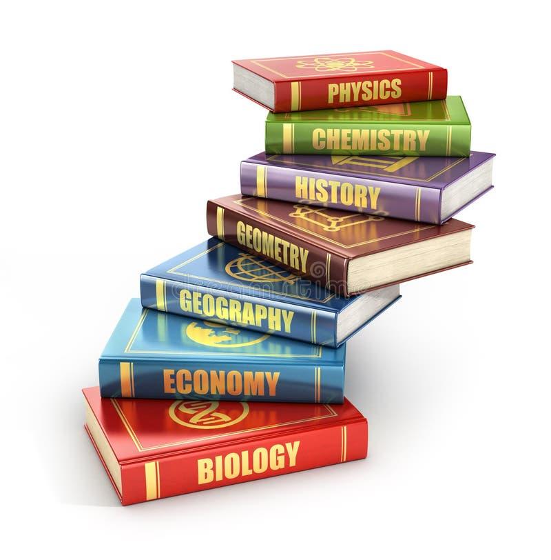 Diversos livros de escola empilhados sob a forma das escadas ilustração royalty free