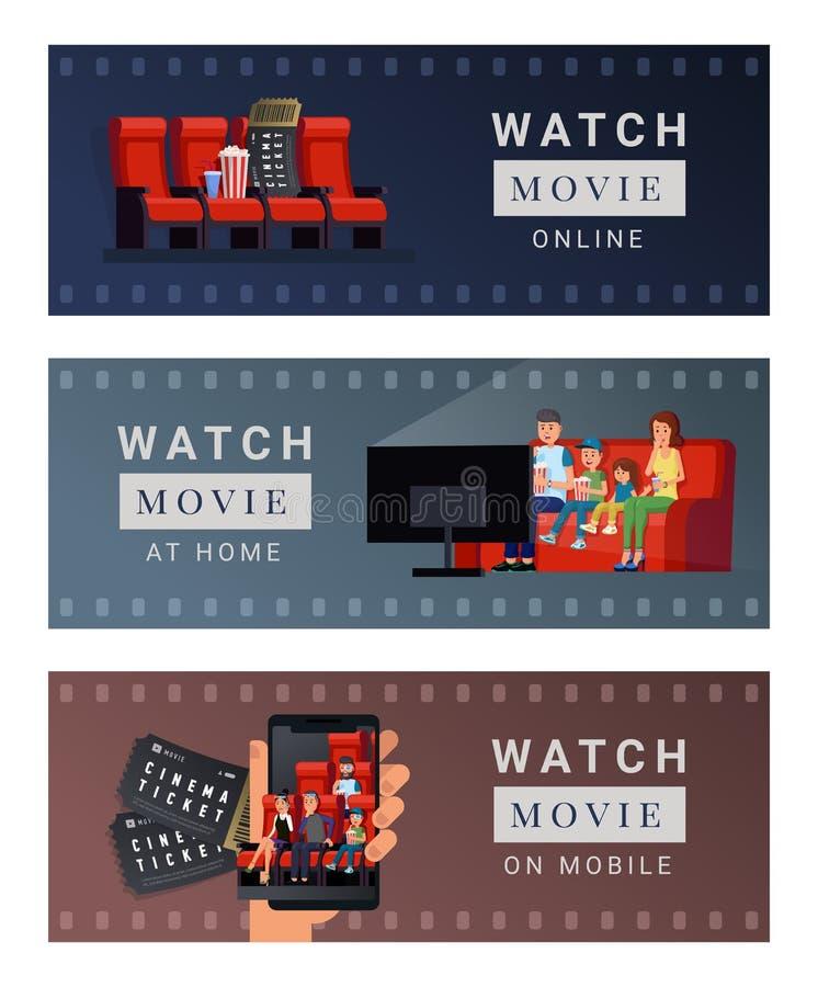 Diversos lugares para el sistema del cine stock de ilustración