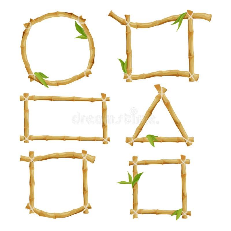 Diversos marcos decorativos del bambú stock de ilustración