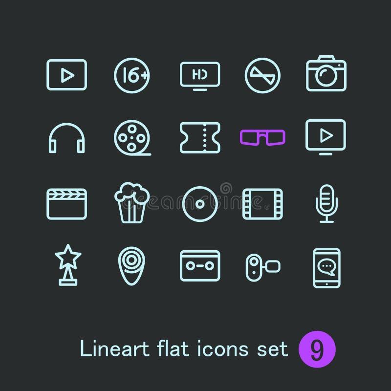 Diversos medios iconos modernos de la aplicación web stock de ilustración