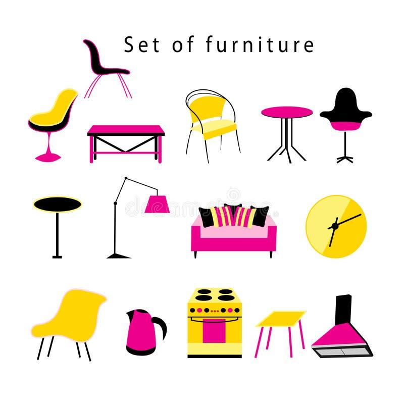 Diversos muebles y artículos en el hogar libre illustration