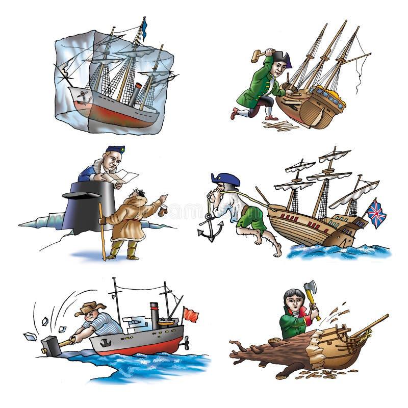 Diversos naves, barco y más stock de ilustración