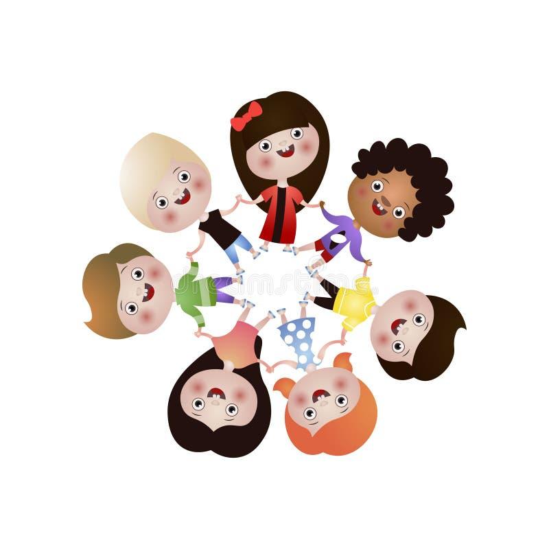 Diversos niños lindos, felices de la nación bailan en ronda ilustración del vector