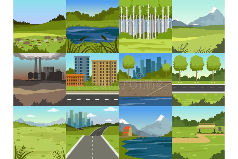 Diversos paisajes naturales del verano fijaron, las escenas de la ciudad, fábrica, bosque, campo, las colinas, camino, río y lago libre illustration