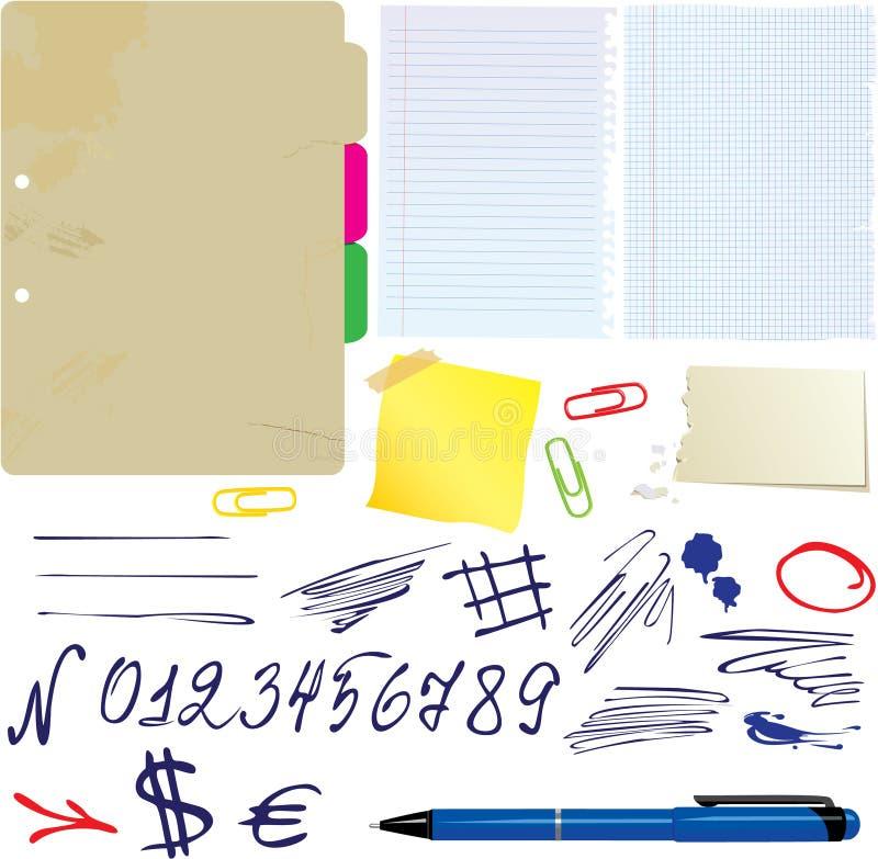 Diversos papeles, números drenados mano stock de ilustración