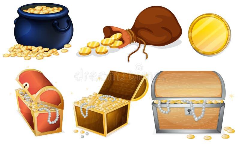 Diversos pechos y mina de oro ilustración del vector