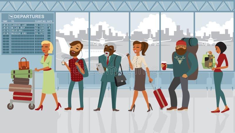 Diversos personajes de dibujos animados de la gente en el aeropuerto ilustración del vector