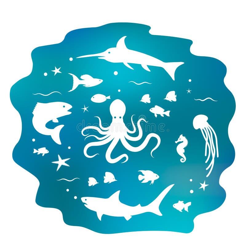 Diversos pescados del océano Bandera plana Concepto del mundo subacuático Ilustraci?n del vector aislada ilustración del vector