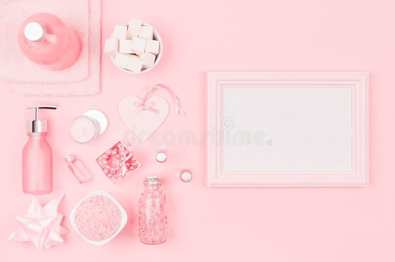Diversos productos y accesorios cosméticos en rosa y color plata con el marco en blanco para el texto y la publicidad en rosa cla imagen de archivo