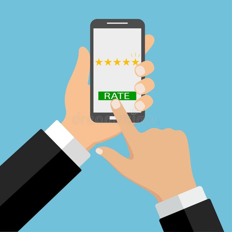 Diversos profesionales con el grado de clientes en la pantalla del smartphone Ejemplo del concepto de la reacción libre illustration