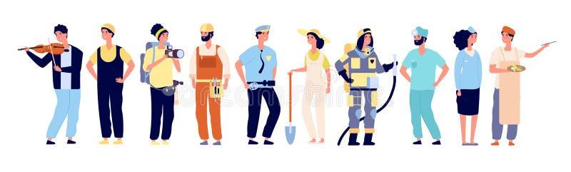 Diversos profesionales Policía y bombero, doctor y azafata, artista y músico, constructor Vector de los trabajadores libre illustration
