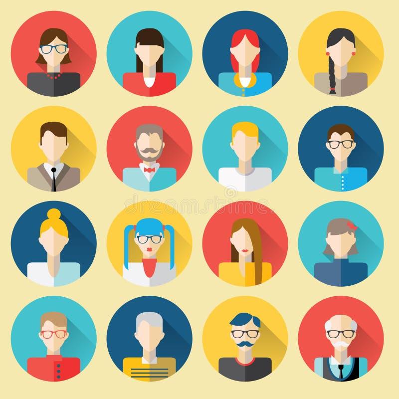 Diversos retratos de la gente Iconos del web fijados (+EPS 10) ilustración del vector