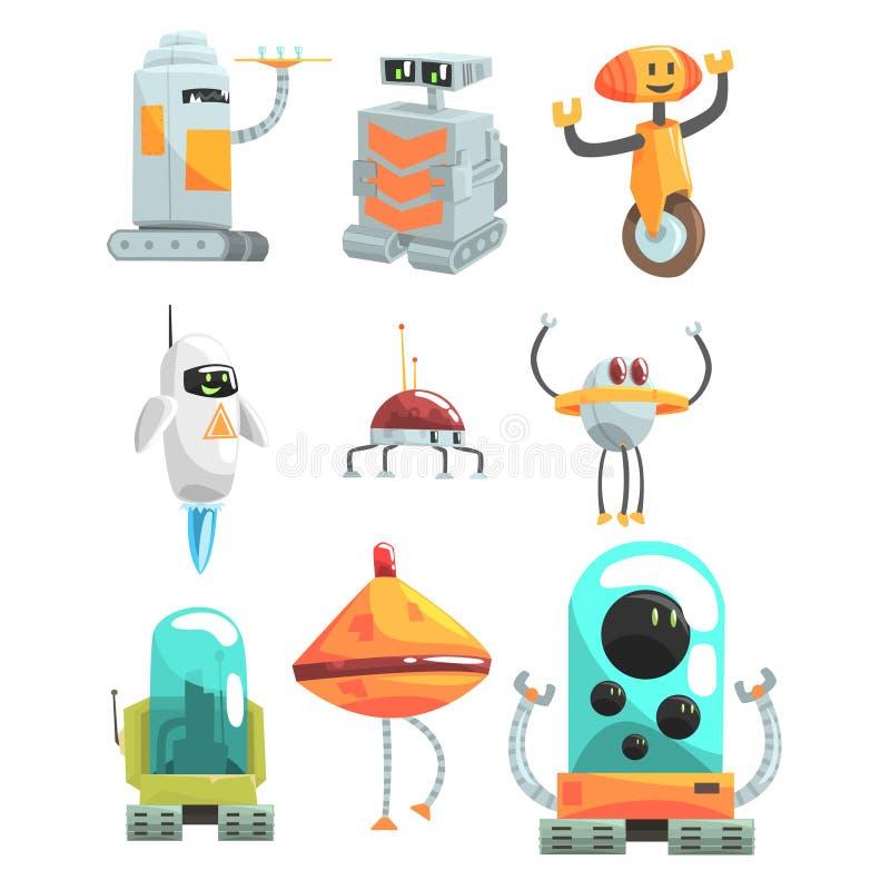 Diversos robots del servicio público del diseño fijados del dibujo aislado androides coloridos de la historieta ilustración del vector