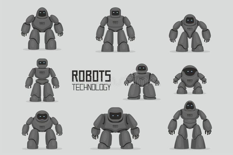 Diversos robots negros fijados stock de ilustración