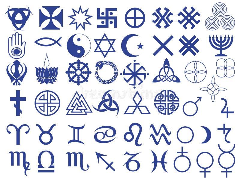 Diversos símbolos creados por la humanidad ilustración del vector