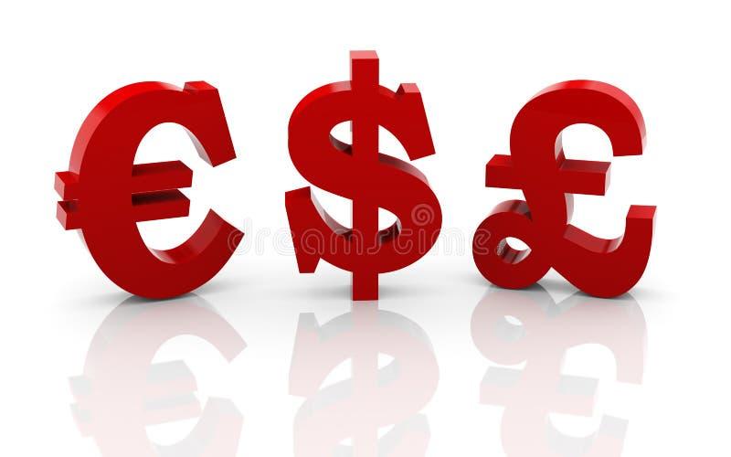 diversos símbolos de dinero en circulación 3d libre illustration