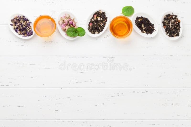 Diversos tés herbarios y de la fruta foto de archivo libre de regalías