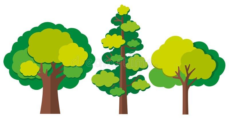 Diversos tipos de árboles stock de ilustración