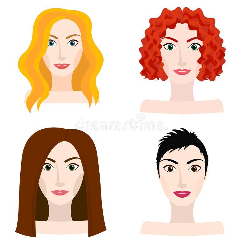 Diversos tipos de aspecto de la mujer y de la muchacha ilustración del vector