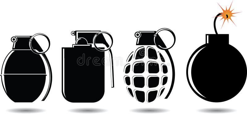 Diversos tipos de cáscaras y de bombas libre illustration