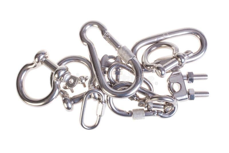 Diversos tipos de carabinas aisladas en blanco imagen de archivo