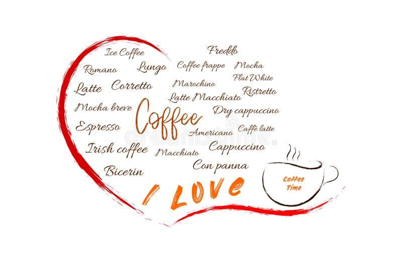 Diversos tipos de coffe en un corazón abierto stock de ilustración