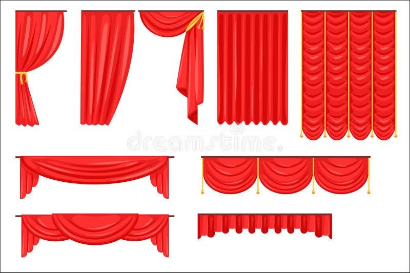 Diversos tipos de cortina de teatro de la etapa y cubren en la colecci?n roja del vector del terciopelo ilustración del vector