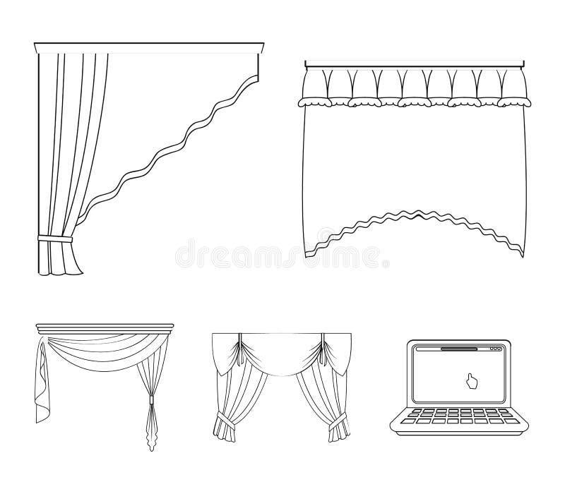 Diversos tipos de cortinas de ventana Las cortinas fijaron iconos de la colección en web del ejemplo de la acción del símbolo del ilustración del vector