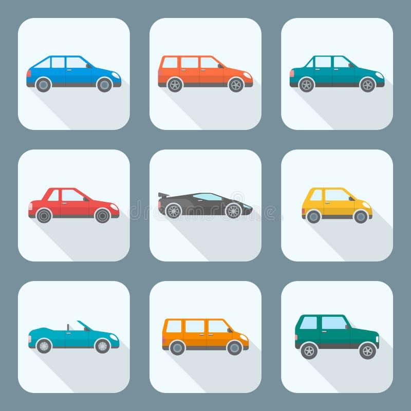 Diversos tipos de cuerpo coloreados del estilo plano de colección de los iconos de los coches stock de ilustración