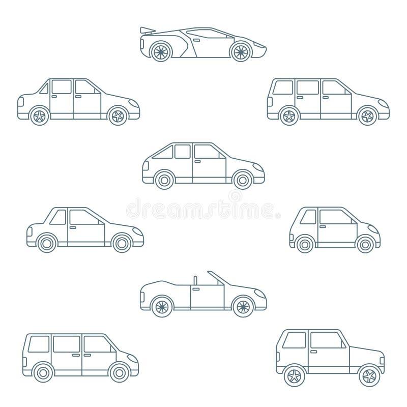 Diversos tipos de cuerpo del esquema oscuro de colección de los iconos de los coches ilustración del vector